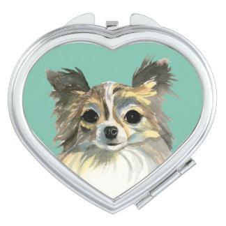 Long Hair Chihuahua Watercolor Portrait Makeup Mirror