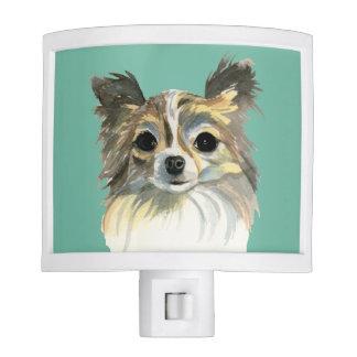 Long Hair Chihuahua Watercolor Portrait Nite Lights