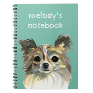 Long Hair Chihuahua Watercolor Portrait Notebooks