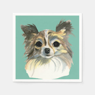 Long Hair Chihuahua Watercolor Portrait Paper Napkins