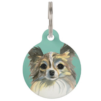 Long Hair Chihuahua Watercolor Portrait Pet Tag