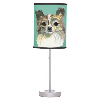 Long Hair Chihuahua Watercolor Portrait Table Lamp