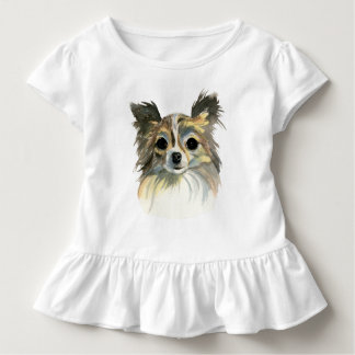 Long Hair Chihuahua Watercolor Portrait Toddler T-shirt