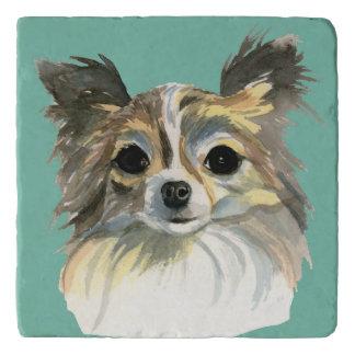 Long Hair Chihuahua Watercolor Portrait Trivet