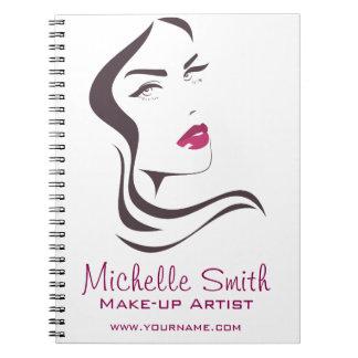 Long Hair hairdresser make up artist  branding Notebooks