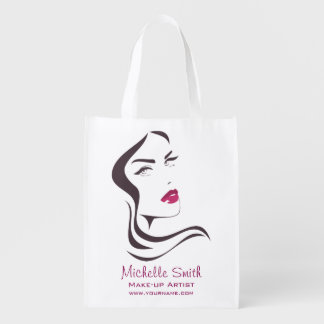 Long Hair hairdresser make up artist  branding Reusable Grocery Bag