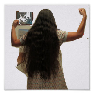 Long Hair Woman Flexing Poster