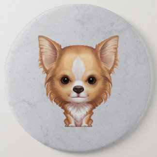 Long-Haired Beige and White Chihuahua 6 Inch Round Button