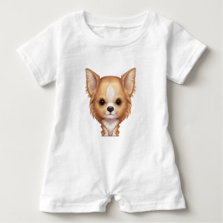 Long-Haired Beige and White Chihuahua Baby Romper