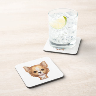 Long-Haired Beige and White Chihuahua Coaster