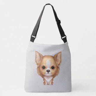 Long-Haired Beige and White Chihuahua Crossbody Bag