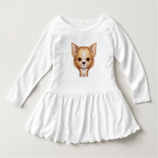 Long-Haired Beige and White Chihuahua Dress