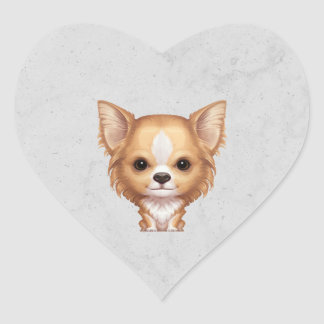 Long-Haired Beige and White Chihuahua Heart Sticker