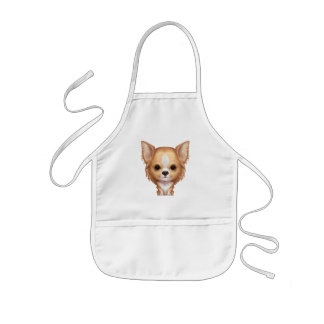 Long-Haired Beige and White Chihuahua Kids Apron