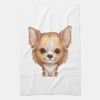 Long-Haired Beige and White Chihuahua Kitchen Towel