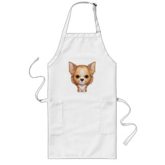 Long-Haired Beige and White Chihuahua Long Apron
