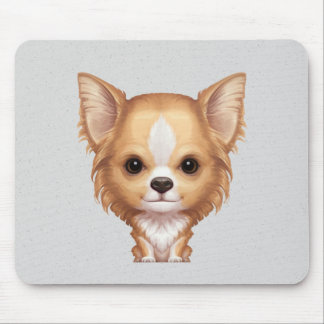 Long-Haired Beige and White Chihuahua Mouse Pad