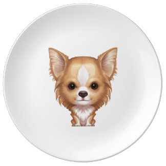 Long-Haired Beige and White Chihuahua Plate