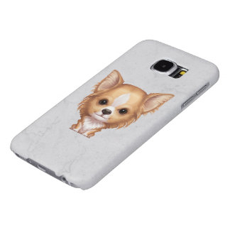 Long-Haired Beige and White Chihuahua Samsung Galaxy S6 Cases