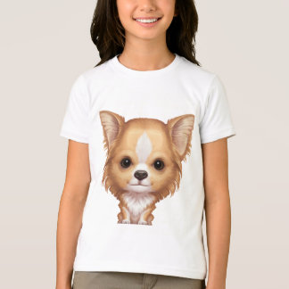 Long-Haired Beige and White Chihuahua T-Shirt