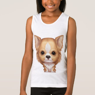 Long-Haired Beige and White Chihuahua Tank Top