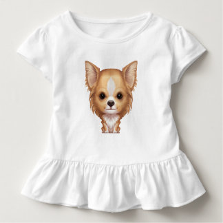 Long-Haired Beige and White Chihuahua Toddler T-shirt