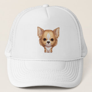 Long-Haired Beige and White Chihuahua Trucker Hat