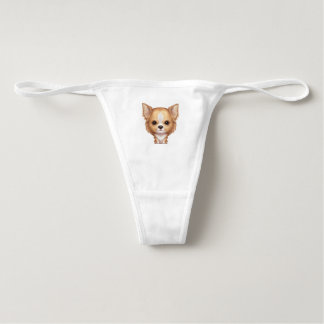 Long-Haired Beige and White Chihuahua Underwear