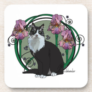 Long Haired Black and White Cat with Irises Coaster