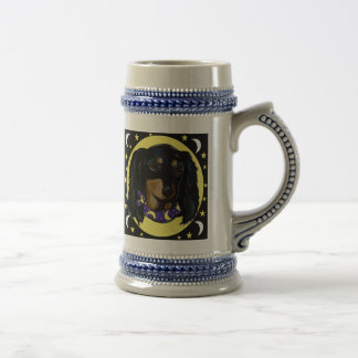 Long Haired Black Dachshund Beer Stein