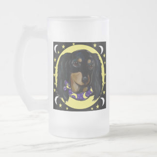 Long Haired Black Dachshund Frosted Glass Beer Mug