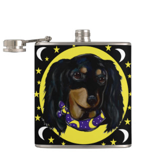 Long Haired Black Dachshund Hip Flask