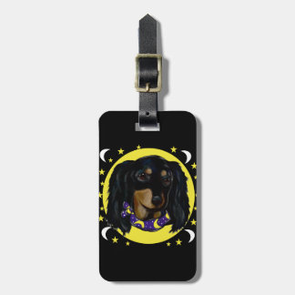Long Haired Black Dachshund Luggage Tag
