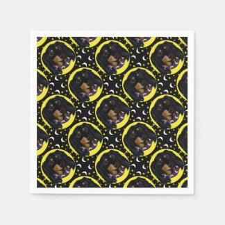 Long Haired Black Dachshund Paper Napkins