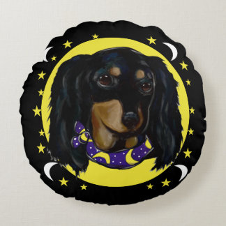 Long Haired Black Dachshund Round Pillow