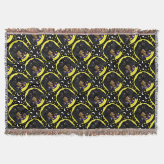 Long Haired Black Dachshund Throw Blanket