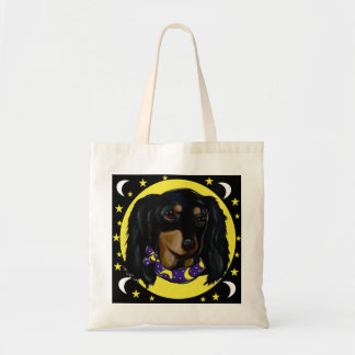 Long Haired Black Dachshund Tote Bag
