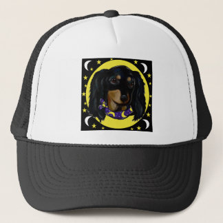 Long Haired Black Dachshund Trucker Hat