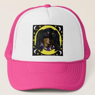 Long Haired Black Dachshund Trucker Hat