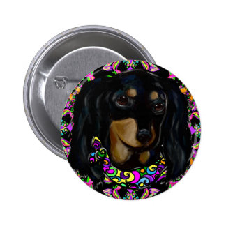 Long Haired Black Doxie 2 Inch Round Button