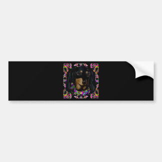 Long Haired Black Doxie Bumper Sticker