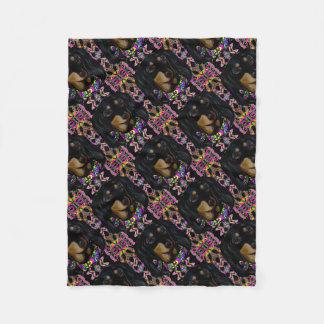 Long Haired Black Doxie Fleece Blanket