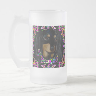 Long Haired Black Doxie Frosted Glass Beer Mug