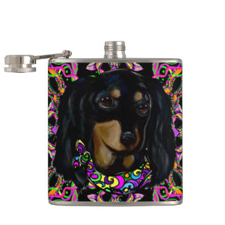 Long Haired Black Doxie Hip Flask