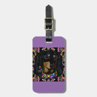 Long Haired Black Doxie Luggage Tag