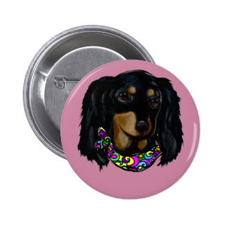 Long Haired Black Doxie Mardi Gras 2 Inch Round Button