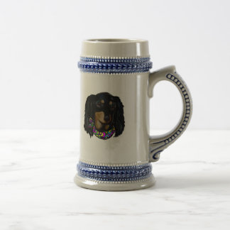 Long Haired Black Doxie Mardi Gras Beer Stein