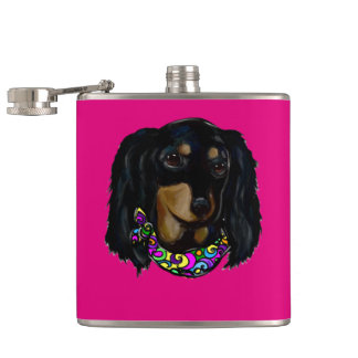 Long Haired Black Doxie Mardi Gras Hip Flask