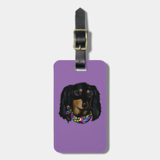 Long Haired Black Doxie Mardi Gras Luggage Tag