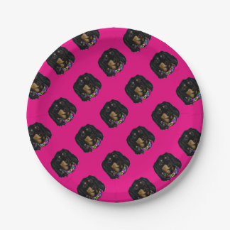 Long Haired Black Doxie Mardi Gras Paper Plate